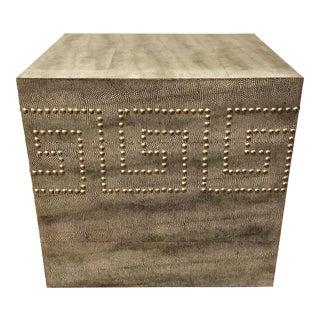Black Shagreen Greek Key Studded Table For Sale