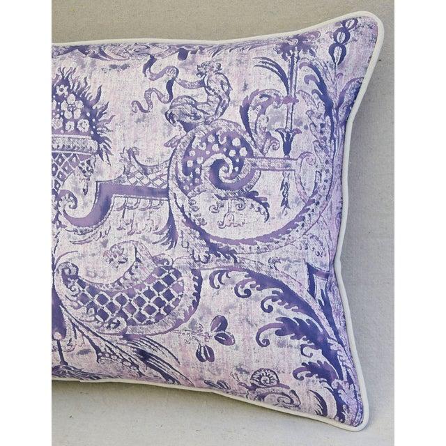 Lavender & White Italian Fortuny Mazzarino & Velvet Pillow - Image 5 of 9
