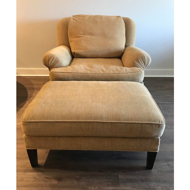 1990s Pearson Club Chair and Ottoman Restyled in Ralph Lauren Khaki Fabric For Sale - Image 13 of 13