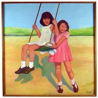 """Brigitte Woosley """"Best Friends Swinging"""" Painting"""