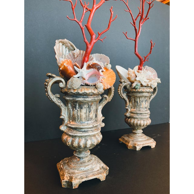 Rococo Baroque-Style Carved Silver Gilt Urns With Shell & Faux Coral Composition - a Pair For Sale - Image 3 of 12