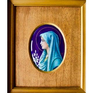 Camille Faure Art Nouveau Enamel Wood, Gold, Enamel Painting Sculpture 1880-1910 For Sale