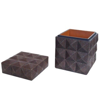 Pyramid Gray Shagreen Box For Sale