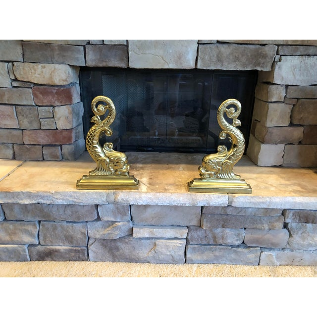 Mid-Century Modern Virginia Metalcrafters Solid Brass Fireplace Set - 6 Pieces For Sale - Image 3 of 13