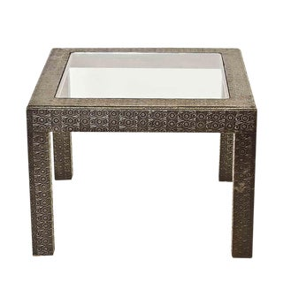 Vintage Silver Embossed Coffee Table For Sale