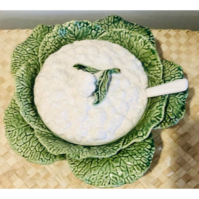 Green Majolica Cauliflower and Cabbage Design Soup Tureen For Sale - Image 8 of 8