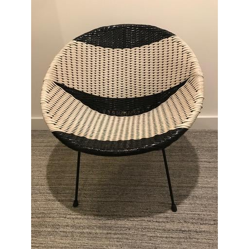 Boho Chic Vintage Mid-Century Atomic B/W Vinyl Basket Chair For Sale - Image 3 of 13