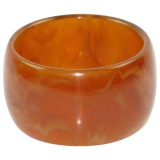 Bakelite Red Tea Amber Marble Tone Bangle Bracelet For Sale