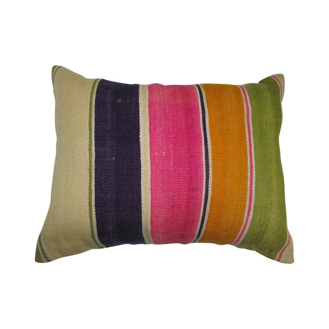 Turkish Striped Kilim Pillow For Sale