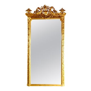 Antique French Classical Baroque Style Figural Giltwood Pier Mirror Circa 1880 For Sale