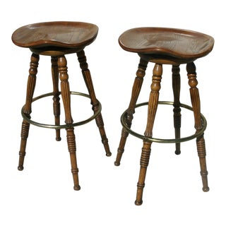 Late 20th Century Hw Hull & Sons Vintage Oak Saddle Seat Barstools- A Pair For Sale