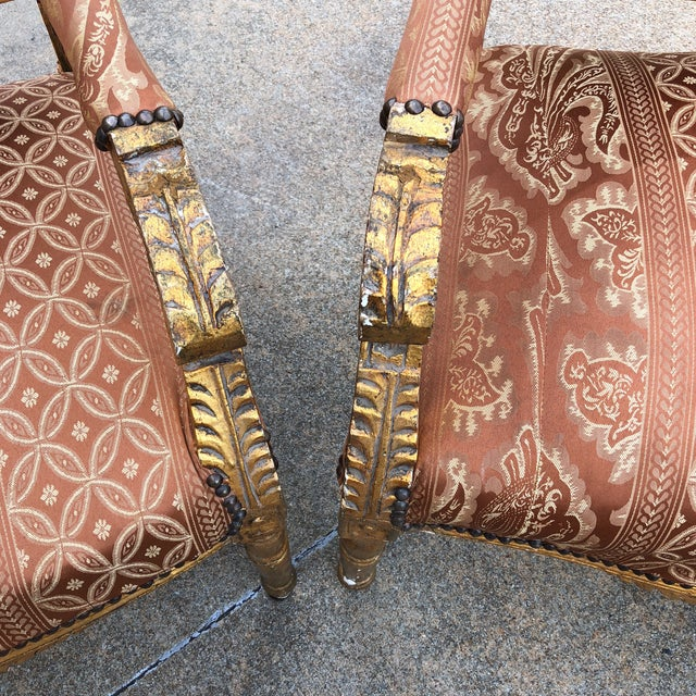 1930s Vintage Imperial Gilded French Sofa and Chairs - Set of 3 For Sale - Image 10 of 11