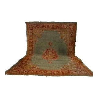 19th Century Antique Turkish Kula Oushak Rug - 9′10″ × 13′10″ Carpet For Sale