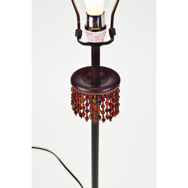 Boho Chic Metal Oil Rubbed Bronze Finish Beaded Candlestick Table Lamp For Sale - Image 3 of 7