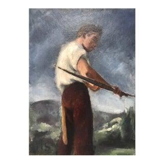 """""""George Kimball Plochmann in Woodstock"""" Original Oil on Board by Helen Harvey Shotwell For Sale"""