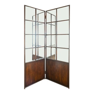 McGuire Mirrored Folding Screen For Sale