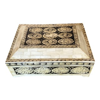 Antique Floral Bone Asian Jewelry Box For Sale