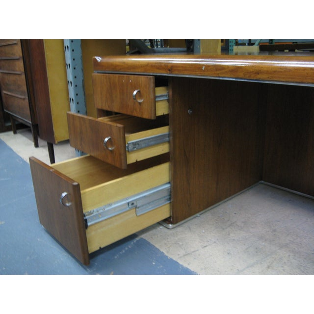 1920s Art Deco Walnut Desk For Sale - Image 5 of 9