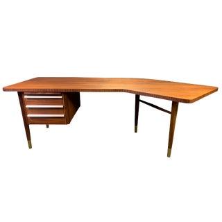 1960s Mid Century Modern Teak Boomerang Writing Desk For Sale