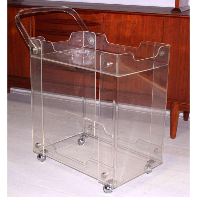 Very nice mid century modern bent lucite cart with folding handle