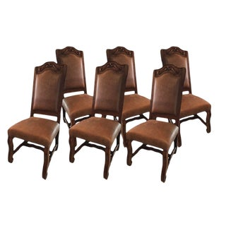 Spanish Mahogany and Leather Dining Chairs - Set of 6 For Sale