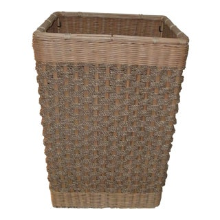 Square Wicker Weave With Twine Laundry Basket For Sale