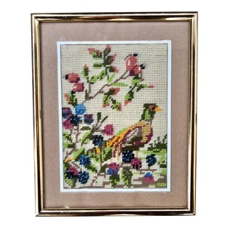 Multicolored Floral Bird Pheasant Needlepoint For Sale