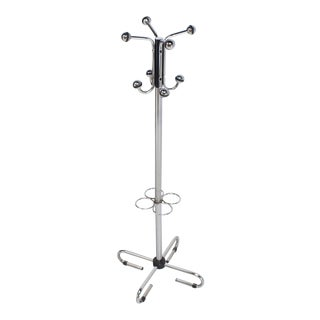Mid-Century Modern Bauhaus Chrome Coatrack Umbrella Stand For Sale