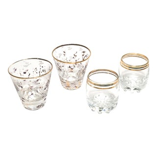 Golden Bling Vintage Bar Builders Glasses - Set of 4 For Sale