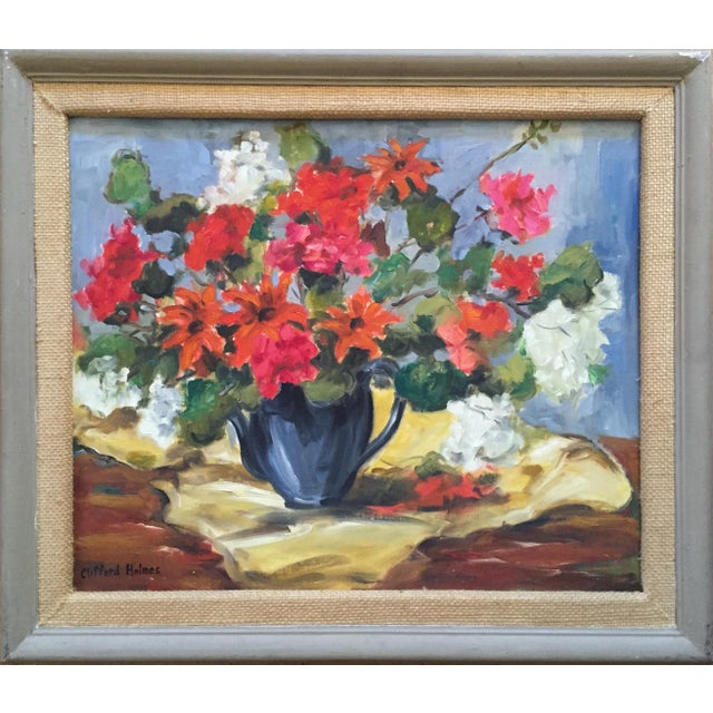 1950s Clifford Holmes Floral Still Life For Sale - Image 10 of 10