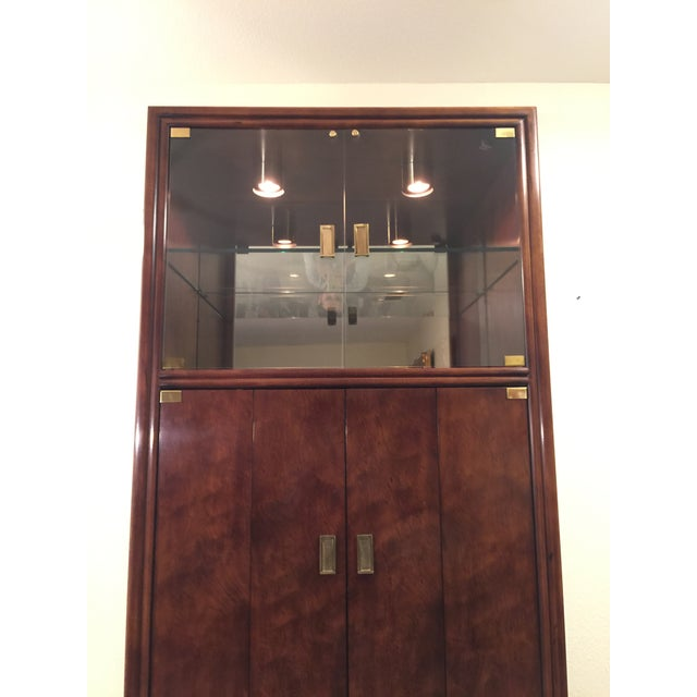 Gold Henredon Campaign Wall Unit W/ Curio Display Cabinets, Bookshelves and Dual Door Cabinet - 4 Pc. Set For Sale - Image 8 of 13