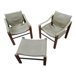 Mid Century Modern Maurice Burke for Arkana Teak Safari Chairs and Ottoman - Set of 3