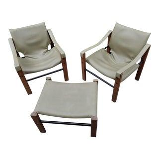 Mid Century Modern Maurice Burke for Arkana Teak Safari Chairs and Ottoman - Set of 3 For Sale