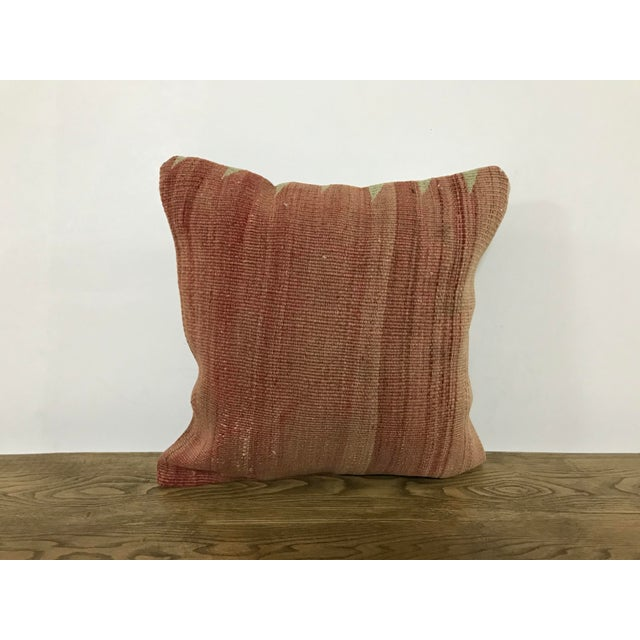 Turkish Faded Hand Woven Sofa Kilim Pillow For Sale In Phoenix - Image 6 of 6