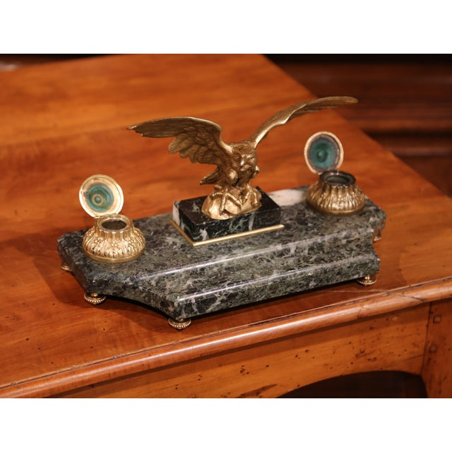 19th Century French Bronze Eagle Green Marble Inkwell and Ink Containers For Sale - Image 4 of 8
