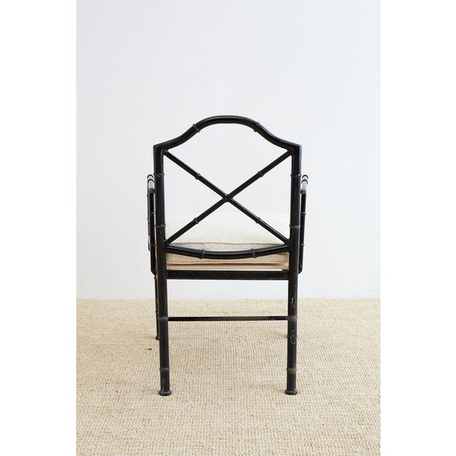 Chinese Chippendale Faux Bamboo Iron Garden Chairs For Sale In San Francisco - Image 6 of 13