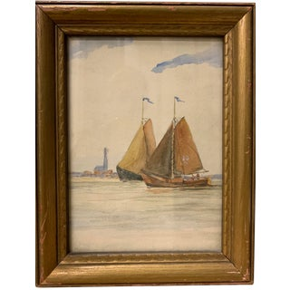 """1940s """"Two Sailboats and Skyline"""" Watercolor Painting For Sale"""