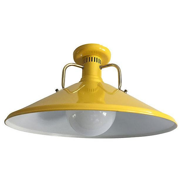 Soak up the sun with this MINT 1970s modern ceiling light by EJS Lighting. Colorful design features a large enamel cone in...
