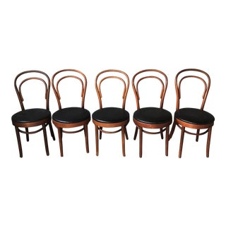 1970s Vintage Dark Wood and Black Vinyl Thonet Cafe Dining Chairs- Set of 5 For Sale