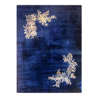 Antique Blue Art Deco Chinese Wool Rug For Sale