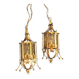 Vintage Gothic Revival Gold Gilt Wall Sconces - a Pair For Sale