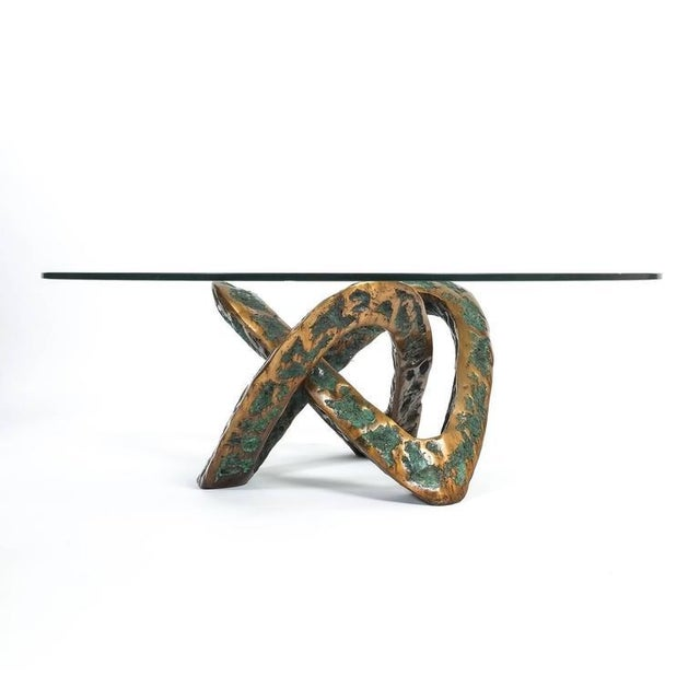 Gold Sculptural Brutalist Mobius Bronze Table, circa 1955 For Sale - Image 8 of 8