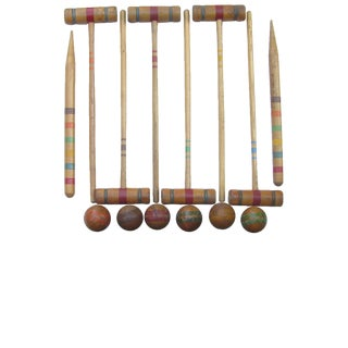 Vintage Croquet Set for Six W/ Vellum Box, 25 Pieces For Sale