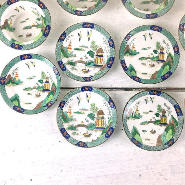 John Aynsley 1910s Asian Inspired English China Finger Bowls With Under Plates and Syrup Pitcher - 12 Piece Set For Sale - Image 9 of 12