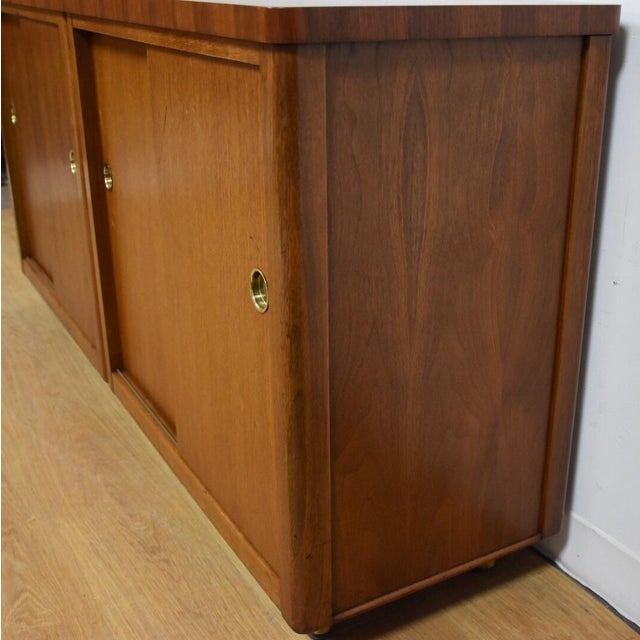 Walnut and Brass Tv Console Credenza - Image 6 of 11
