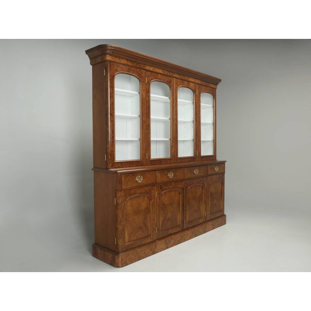 Antique English Burl Walnut Bookcase, Circa Late 1800s and Correctly Restored For Sale - Image 10 of 10