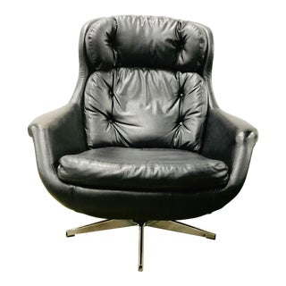 Mid Century Egg Chair and Ottoman Imperial by Selig Black Leather For Sale
