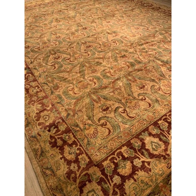 Traditional Pasargad Gold Color Hand Knotted Agra Rug- 11′11″ × 14′8″ For Sale - Image 3 of 10