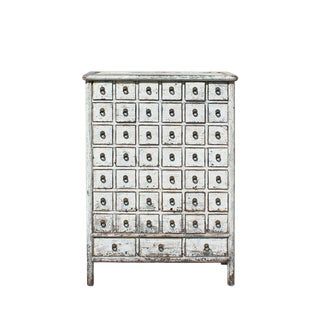 Chinese Distressed White 45 Drawers Medicine Apothecary Cabinet