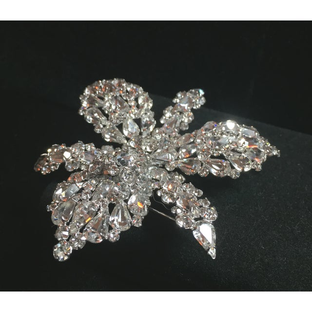 Metal Massive Elsa Schiaparelli Crystal & Rhodium Orchid Brooch & Earrings, 1950s For Sale - Image 7 of 13